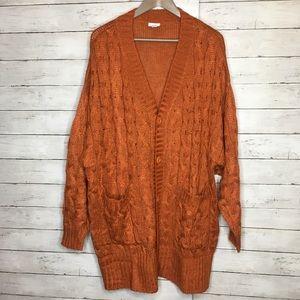 LULAROE Lucille Knit Orange Cardigan Sz Large